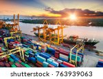 logistics and transportation of ... | Shutterstock . vector #763939063