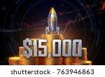 bitcoin breaks   15 000 barrier ... | Shutterstock . vector #763946863