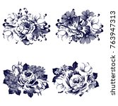 collection of flowers bouquets | Shutterstock . vector #763947313