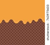 chocolate wafer background with ... | Shutterstock .eps vector #763975603