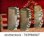 set of brand new hand made horn ... | Shutterstock . vector #763986067