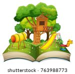 book with playground in the... | Shutterstock .eps vector #763988773