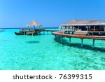 Maldives water villa - bungalows - stock photo