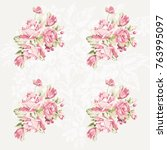 seamless floral pattern with... | Shutterstock .eps vector #763995097