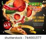 mouthwatering pizza ads  cheese ... | Shutterstock .eps vector #764001577