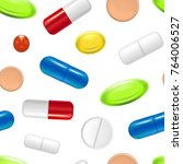 realistic detailed pills... | Shutterstock .eps vector #764006527