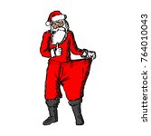 slim santa claus with red loose ... | Shutterstock .eps vector #764010043