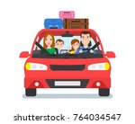happy family travel by car... | Shutterstock .eps vector #764034547