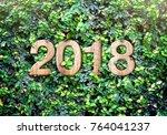 2018 new year wood texture... | Shutterstock . vector #764041237