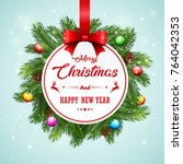 christmas card background with... | Shutterstock . vector #764042353