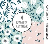 4 seamless pattern set with... | Shutterstock .eps vector #764046697