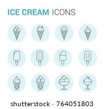 set of ice cream line icons in... | Shutterstock .eps vector #764051803