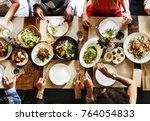 friends at a dinner party | Shutterstock . vector #764054833