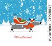 christmas card  santa dog with... | Shutterstock .eps vector #764058817