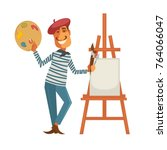 french painter with palette and ... | Shutterstock .eps vector #764066047