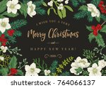 christmas background in a... | Shutterstock .eps vector #764066137