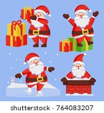 santa clauses set of icons.... | Shutterstock .eps vector #764083207