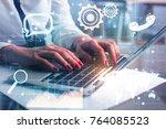 close up of businesswoman hands ... | Shutterstock . vector #764085523