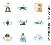 virtual simulation icons set.... | Shutterstock . vector #764089207