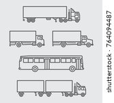 truck and bus of side view line ... | Shutterstock .eps vector #764094487