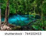 a picturesque blue lake in the... | Shutterstock . vector #764102413