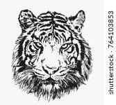 cool tiger face. vector...   Shutterstock .eps vector #764103853