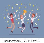 people celebrating victory.... | Shutterstock .eps vector #764115913