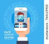 face recognition technology... | Shutterstock .eps vector #764119903