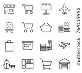 thin line icon set   shop  cart ... | Shutterstock .eps vector #764119993