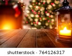 christmas time and desk with... | Shutterstock . vector #764126317