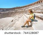 happy woman traveler exploring... | Shutterstock . vector #764128087
