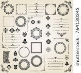 vintage set of horizontal ... | Shutterstock . vector #764130343