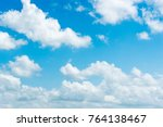 clear blue sky with plain white ... | Shutterstock . vector #764138467