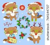 vector cartoon style cute...   Shutterstock .eps vector #764144737