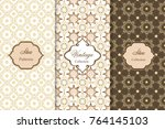 set of luxurious seamless... | Shutterstock .eps vector #764145103