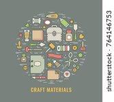 craft supplies poster. template ... | Shutterstock .eps vector #764146753