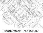 gearbox sketch. vector...   Shutterstock .eps vector #764151007