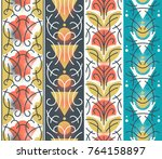 vector set of ornamental floral ... | Shutterstock .eps vector #764158897