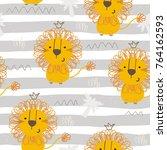 cute little lion cartoon style. ... | Shutterstock .eps vector #764162593