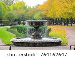 peaceful scenery with fountain... | Shutterstock . vector #764162647