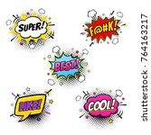 comic speech bubbles and... | Shutterstock .eps vector #764163217
