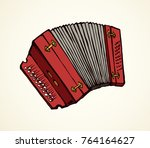 loud accordian squeeze box with ... | Shutterstock .eps vector #764164627