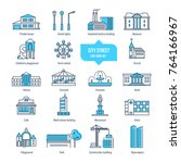 city street thin line icons ... | Shutterstock .eps vector #764166967