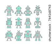 set of cute funny robot... | Shutterstock .eps vector #764168743