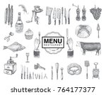 hand drawn vintage sketch set... | Shutterstock .eps vector #764177377