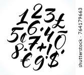 brush lettering numbers ... | Shutterstock .eps vector #764179663