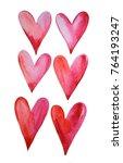 set of watercolor hearts... | Shutterstock . vector #764193247