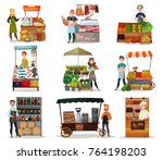 street food icons set with... | Shutterstock .eps vector #764198203