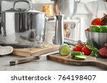 composition with vegetables on... | Shutterstock . vector #764198407