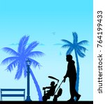 father walking with his baby on ...   Shutterstock .eps vector #764199433